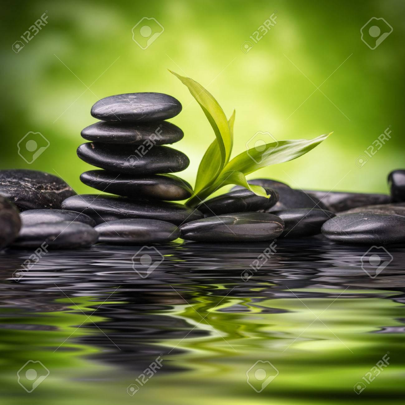 zen basalt stones and bamboo - 48546414