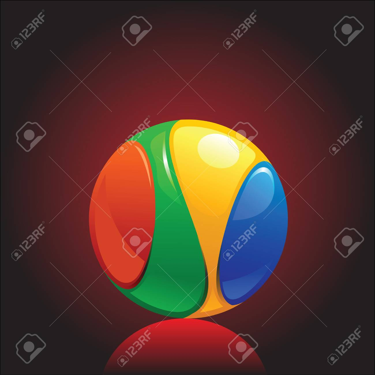 colorful and shiny chromium ball graphics agains dark background Stock Vector - 10121883