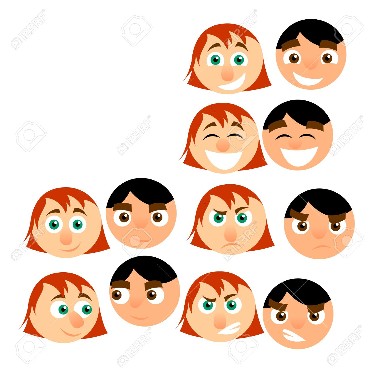 men and women cartoon emotions Stock Vector - 10121691