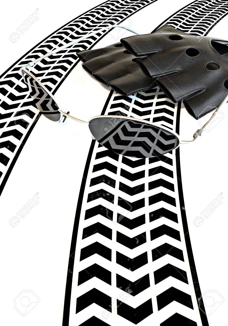 Race treads with gloves and glasses concept Stock Photo - 9981896