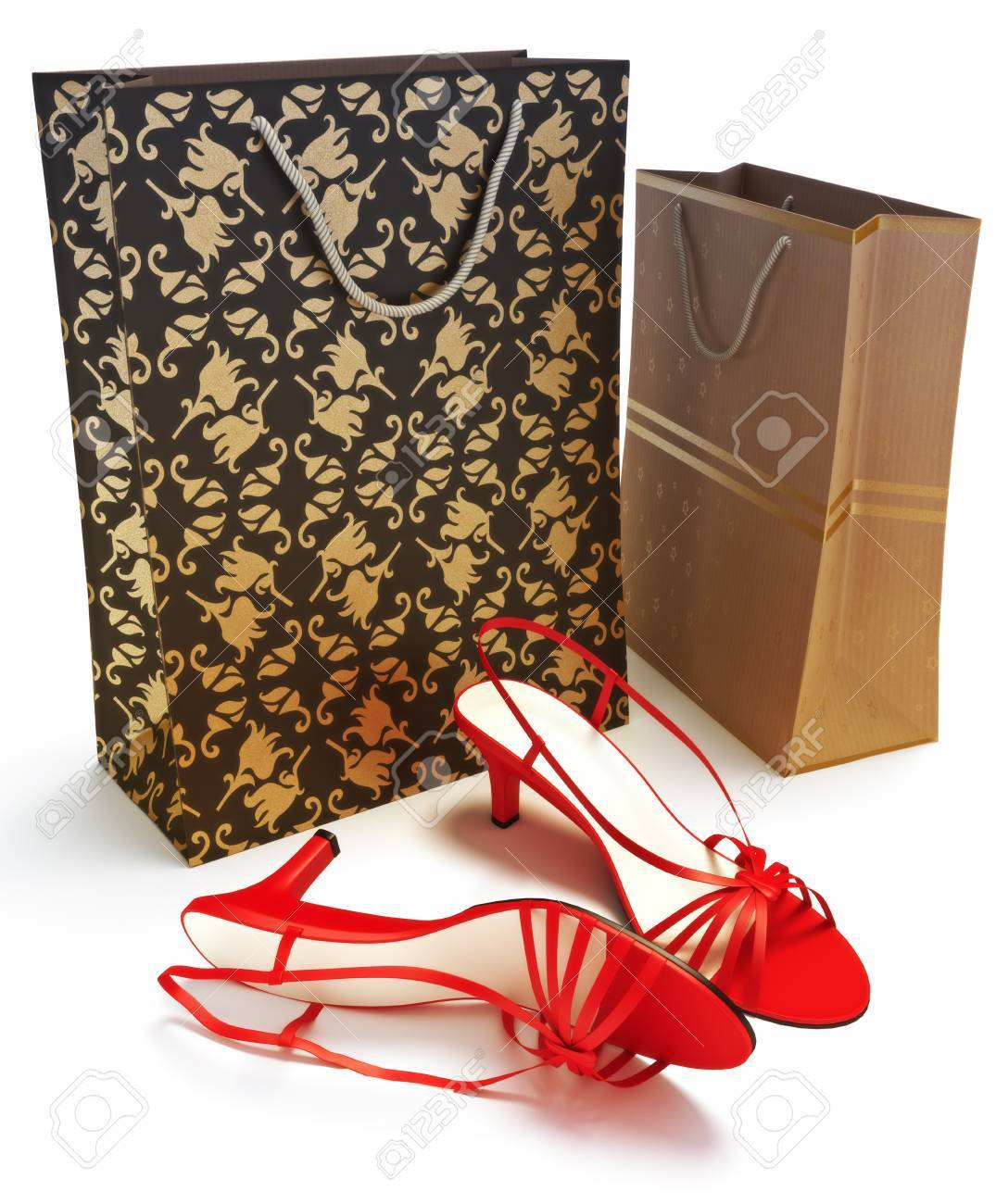 Shopping bags with ladies shoes isolated on a white background. 300 D.P.I Stock Photo - 10750157