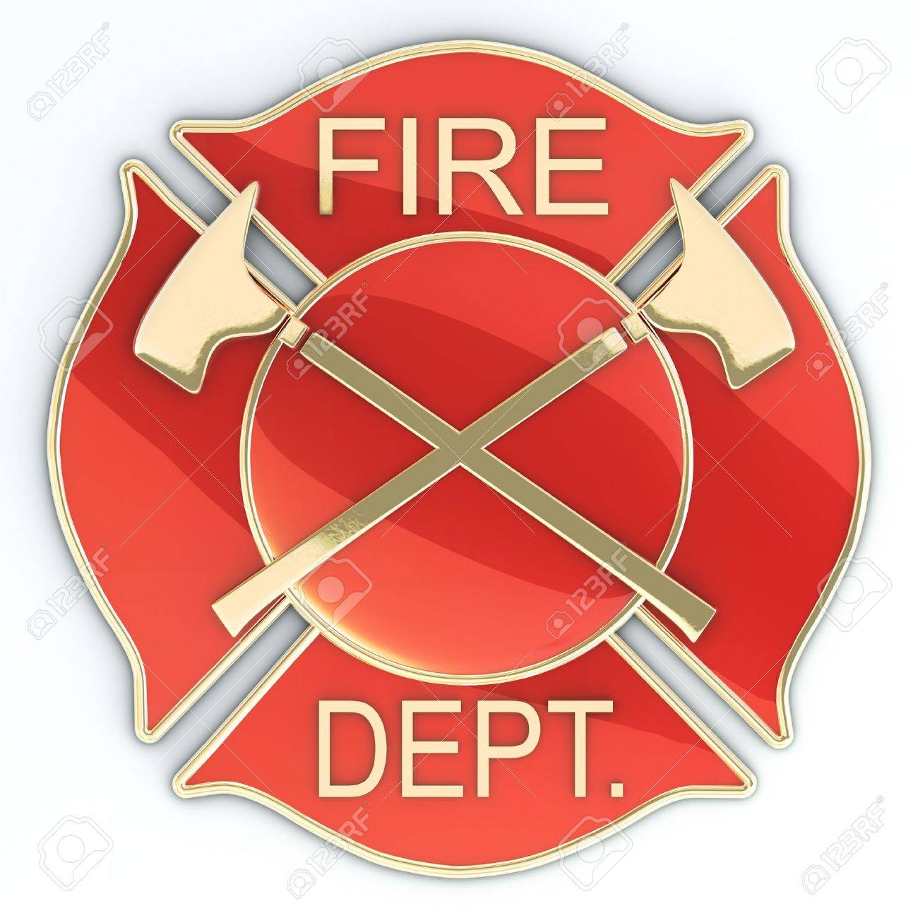 Fire department Maltese cross badge or symbol with axes, red with gold inlay with reflection. 3d image Stock Photo - 11083859