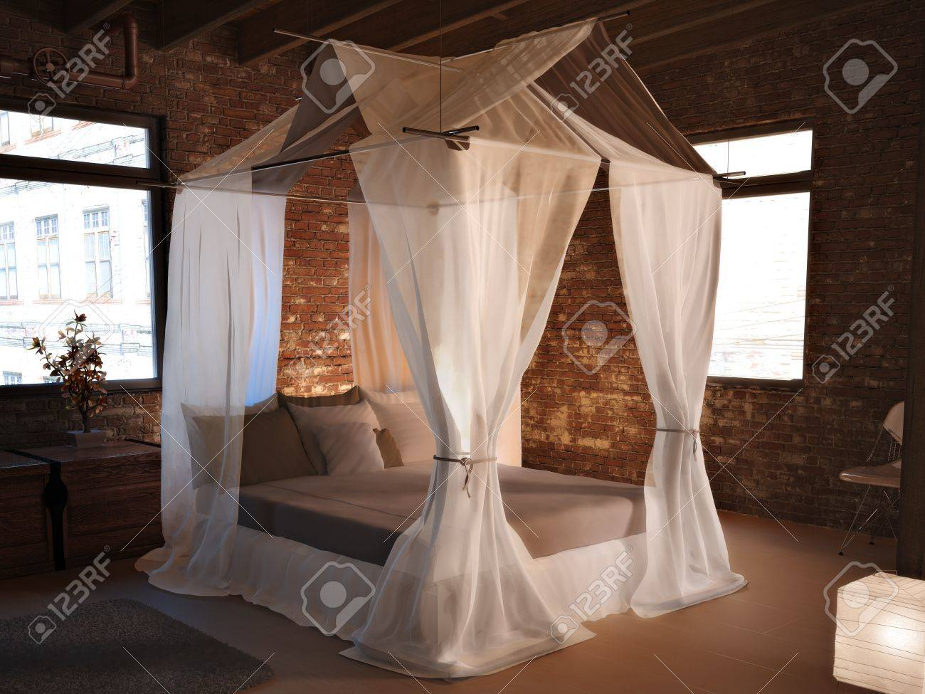 Rustic elegance, An elegant bed in a rustic room setting concept Stock Photo - 20163868