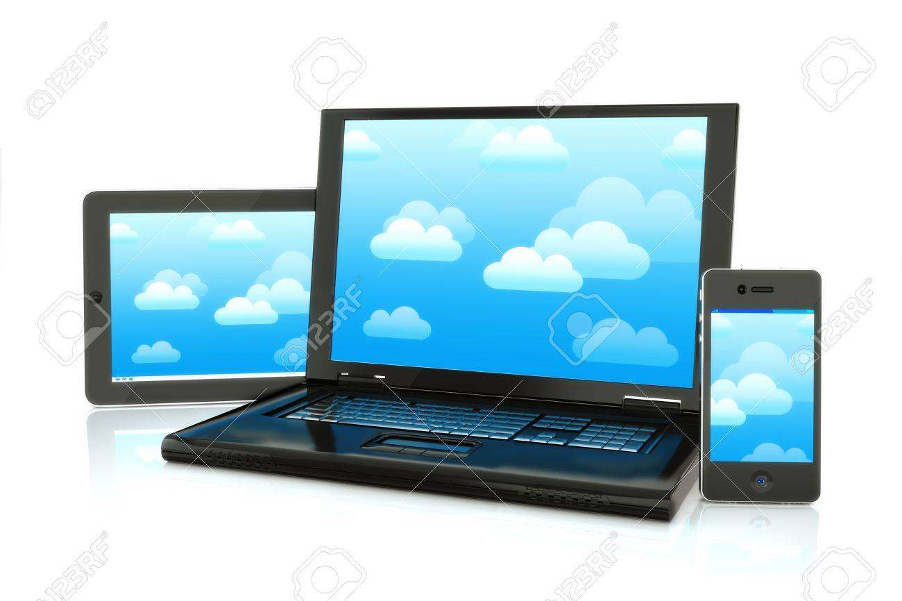 Cloud computing, laptop,smartphone and pad electronics Stock Photo - 13996177