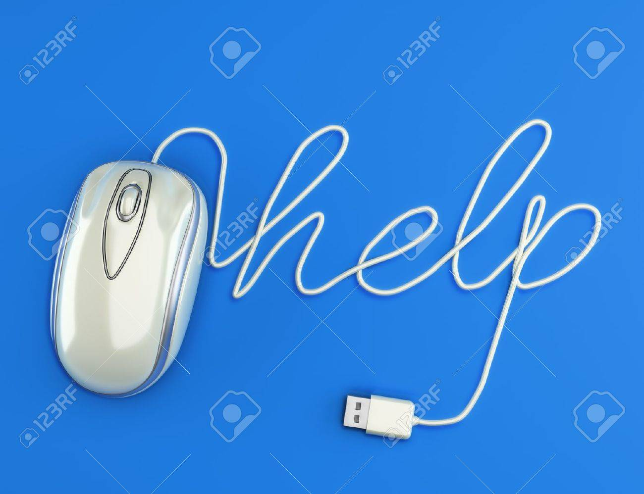 Computer help, white mouse with the cable spelling help with a blue background Stock Photo - 13996188