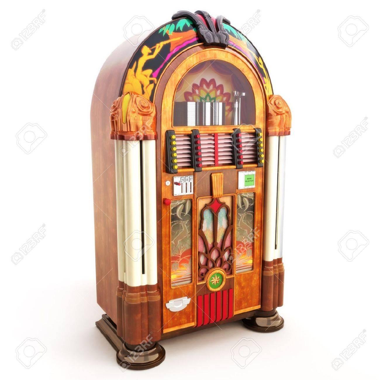 Retro vintage jukebox on a white background 3d model Stock Photo - 14877767