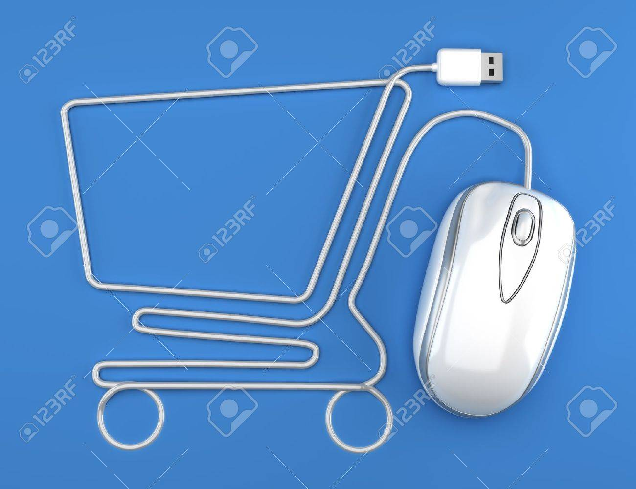 Online shopping, White mouse in the shape of a shopping cart Stock Photo - 15363350