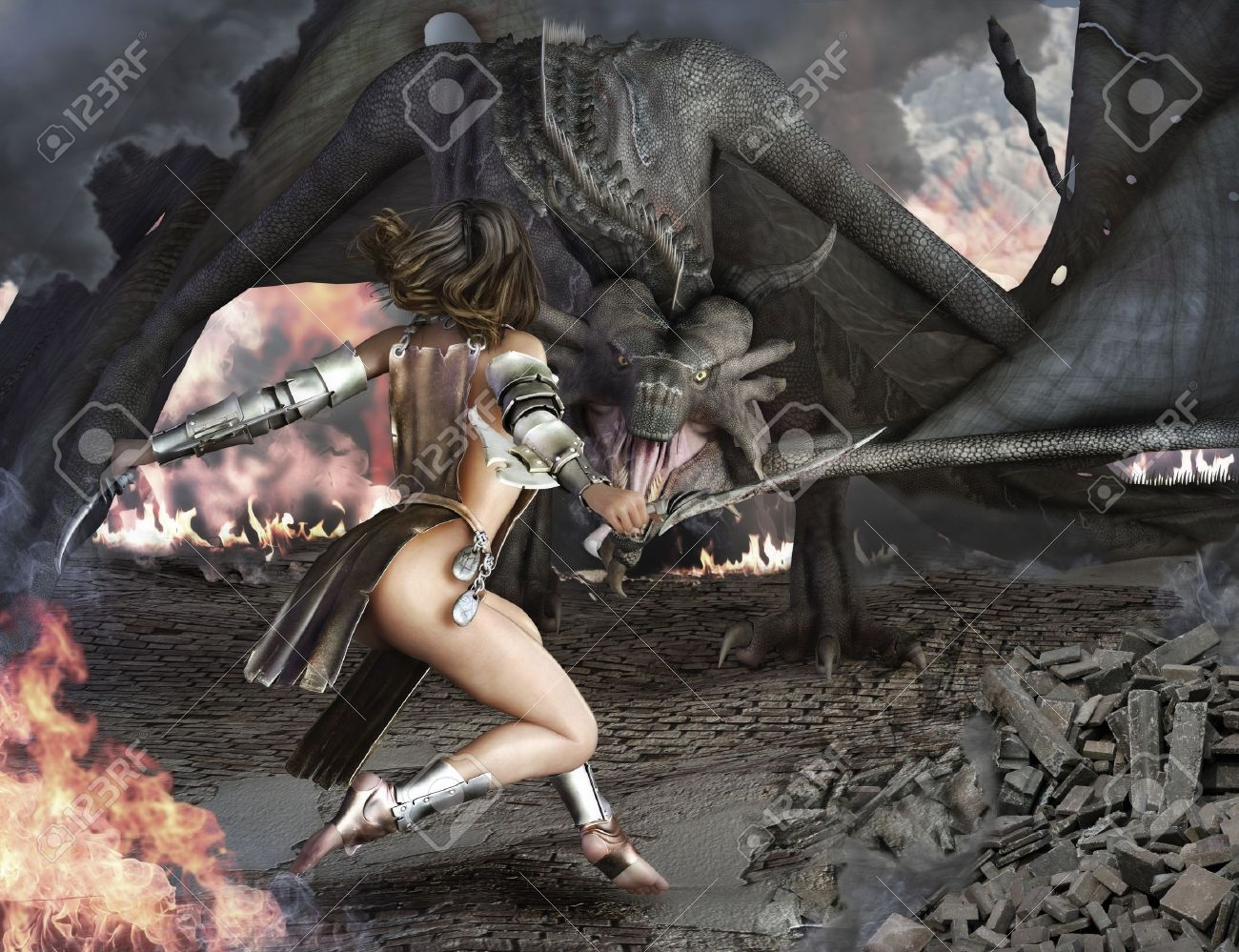 Dragon Slayer, female sexy warrior engaged with an ancient dragon Stock Photo - 15363385