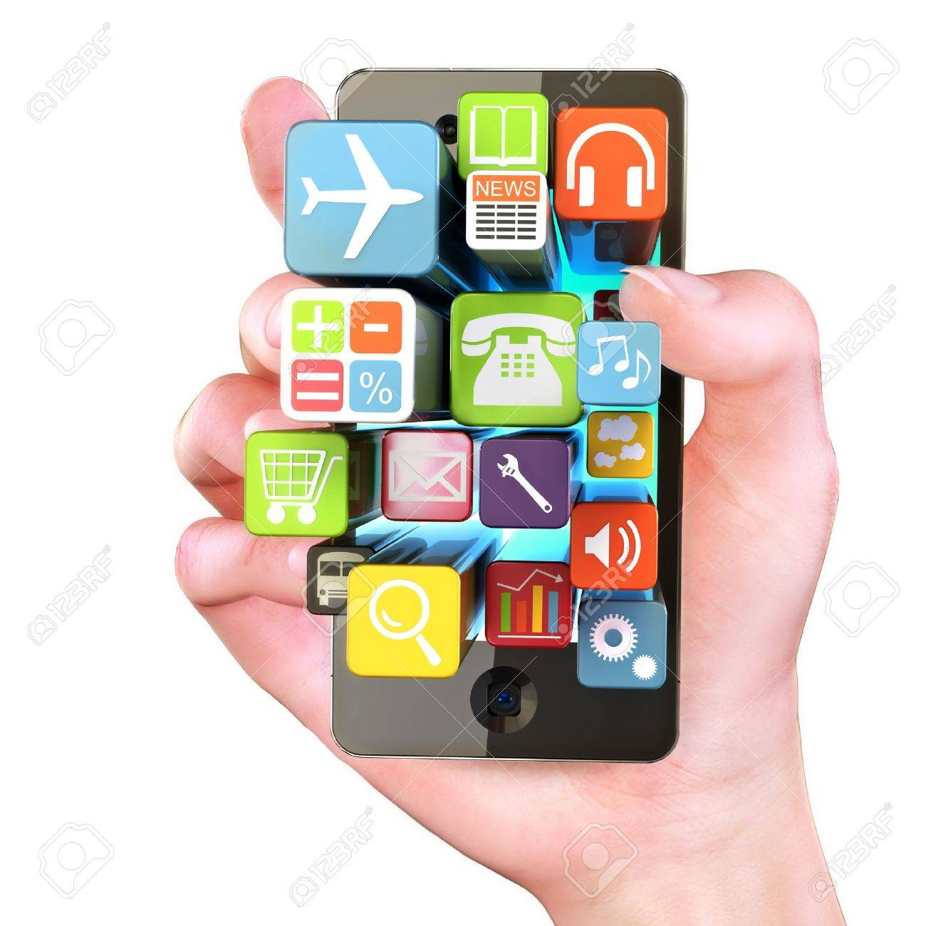 Hand holding Smartphone apps,touchscreen smartphone with application software icons extruding from the screen, isolated in white Stock Photo - 15363365