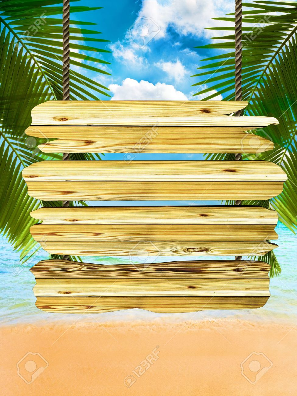 Tropical beach background with exotic wood board sign, room for text and copy space Stock Photo - 16344141