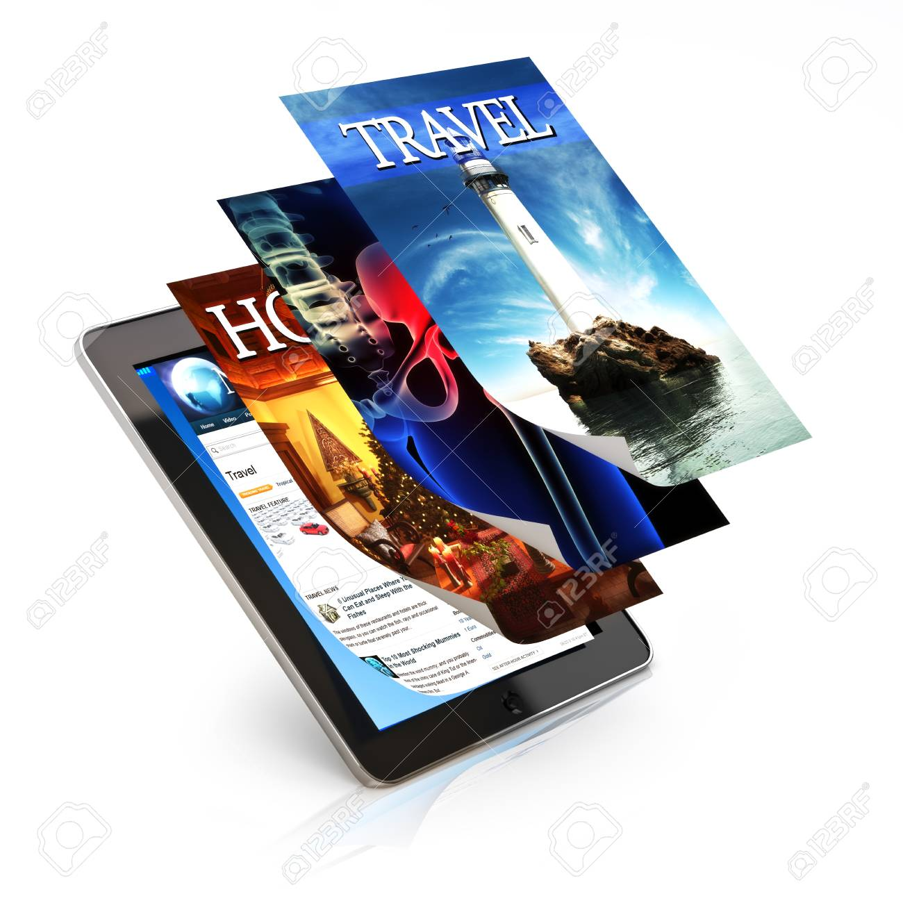 Tablet with multimedia applications. Tablet and screens are custom made Stock Photo - 17195662