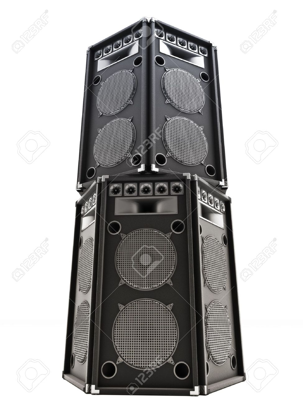 Large Audio Tower Speakers On A White Background Stock Photo Picture And Royalty Free Image Image 17195663