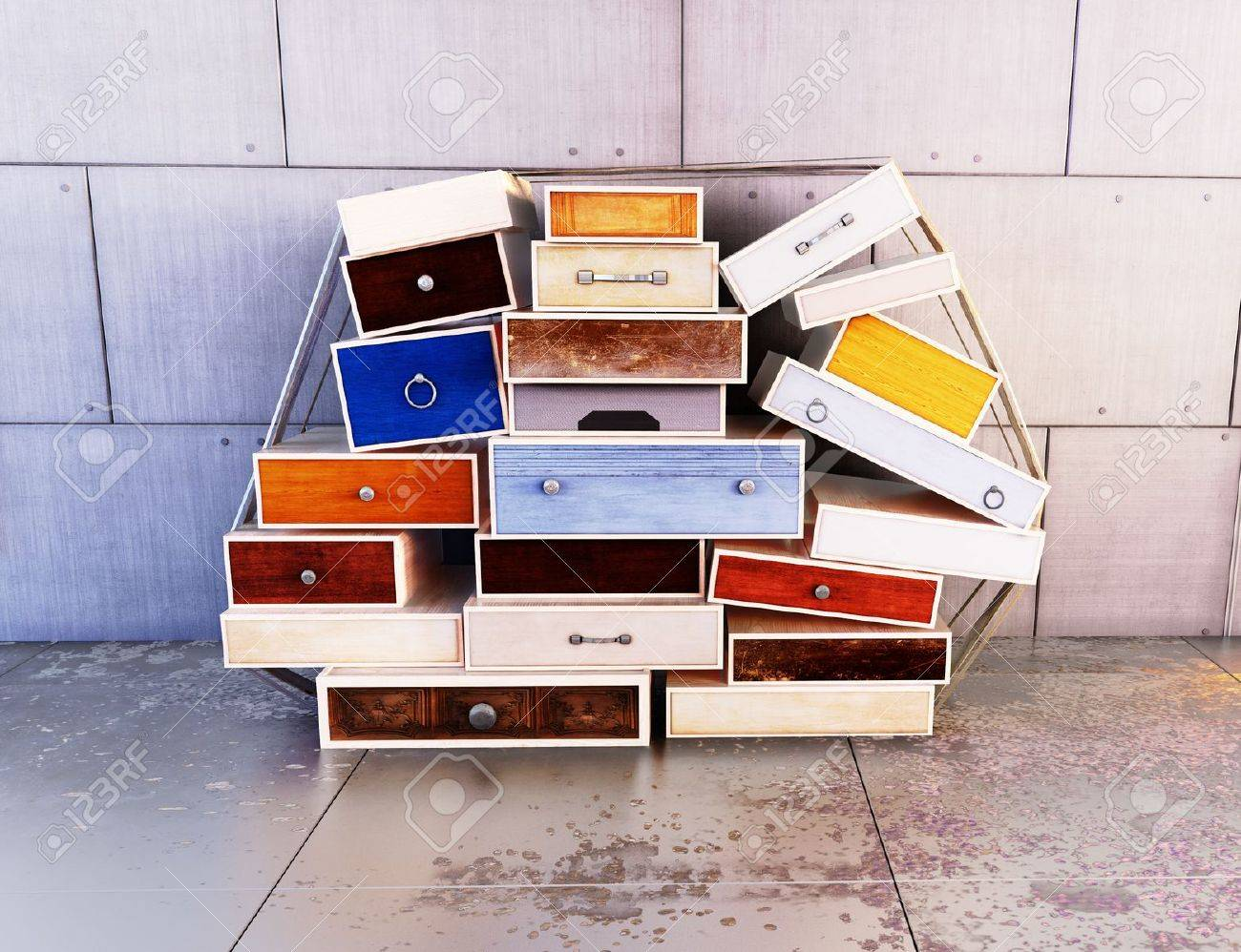 Wooden colored drawers, deco art , abstract background Stock Photo - 17724066