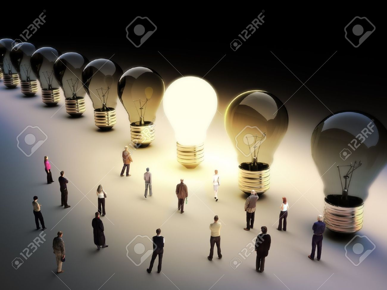 Light bulbs in a row with one being on, large group of people with a few moving to the light.Leading the pack, ingenuity,taking the initiative,standing out from the crowd concept. - 17724067