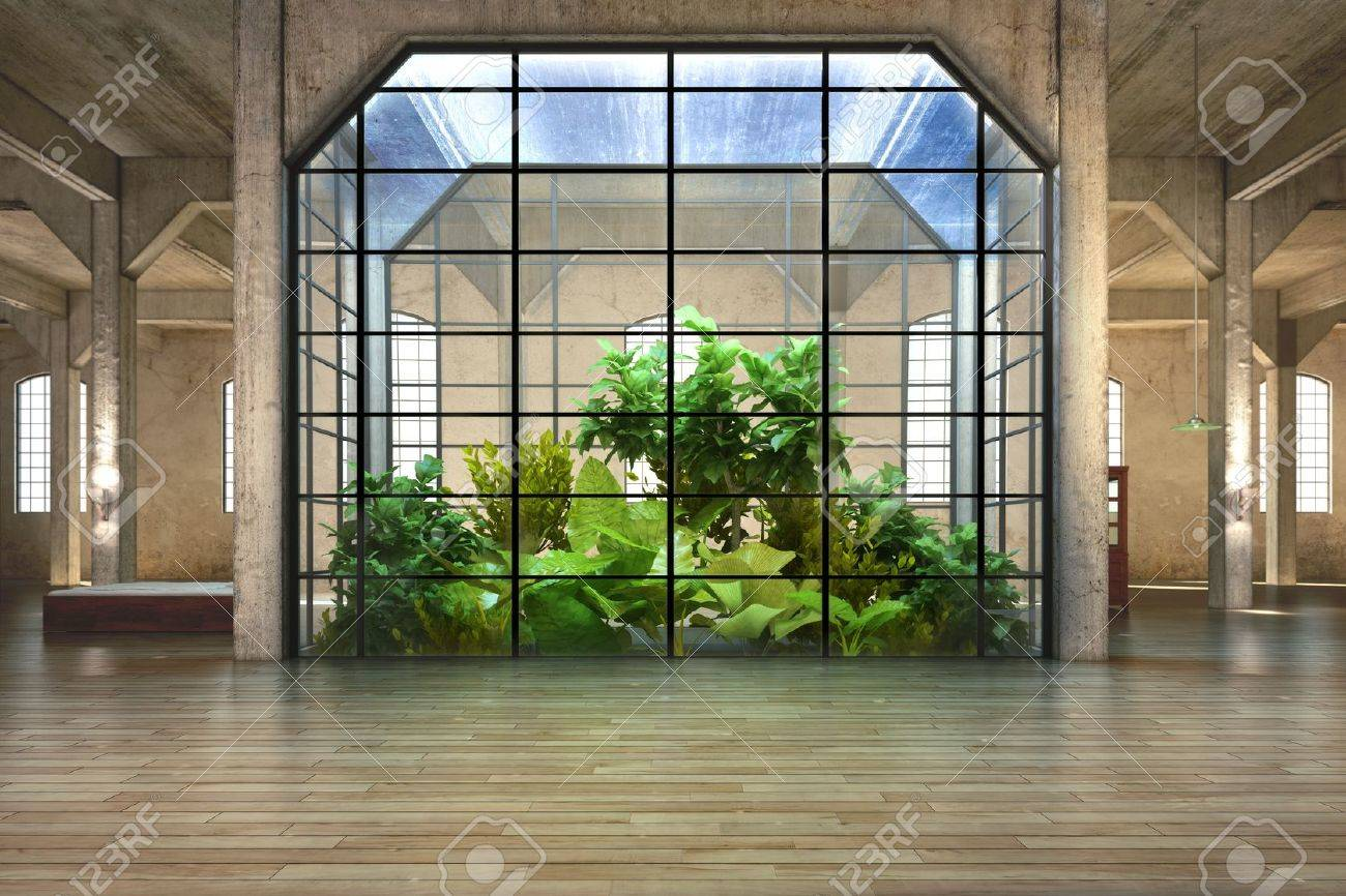 Empty room of business, or residence with atrium background Stock Photo - 17982859