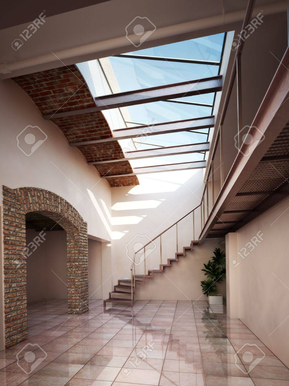 Empty Room Apartment Or Office Space With Rustic Brick And Ceiling Skylights Stock Photo