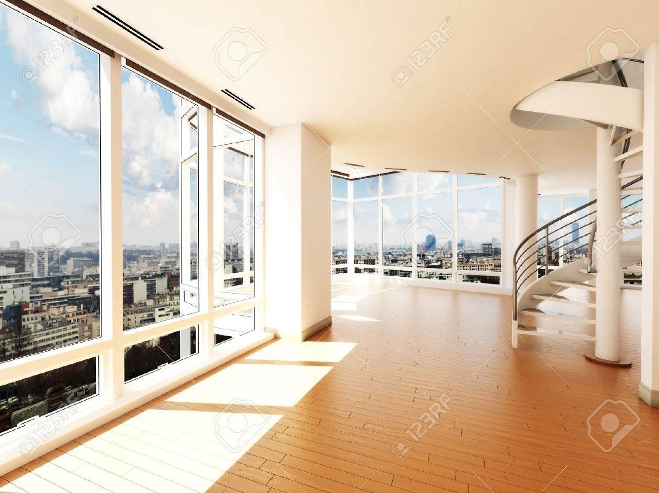 Intérieur moderne avec escalier s surplombant une ville 3d scène modèle