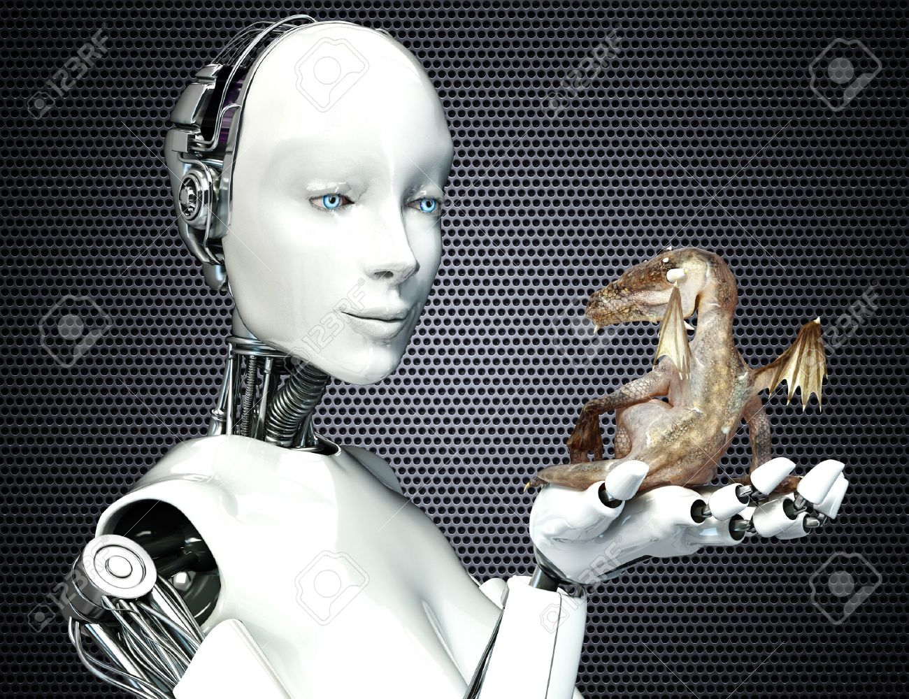 Science Fiction meets Fantasy. Female android robot holding a baby dragon Stock Photo - 19198504