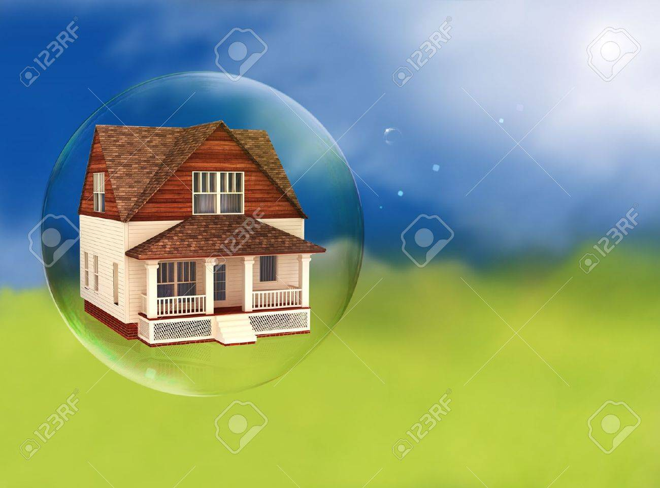 House in a bubble, room for text or copy space Stock Photo - 19585922