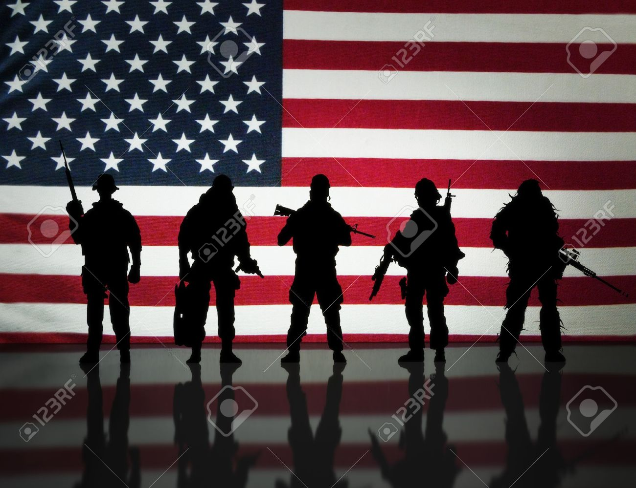 american military special forces silhouette s posing infront stock