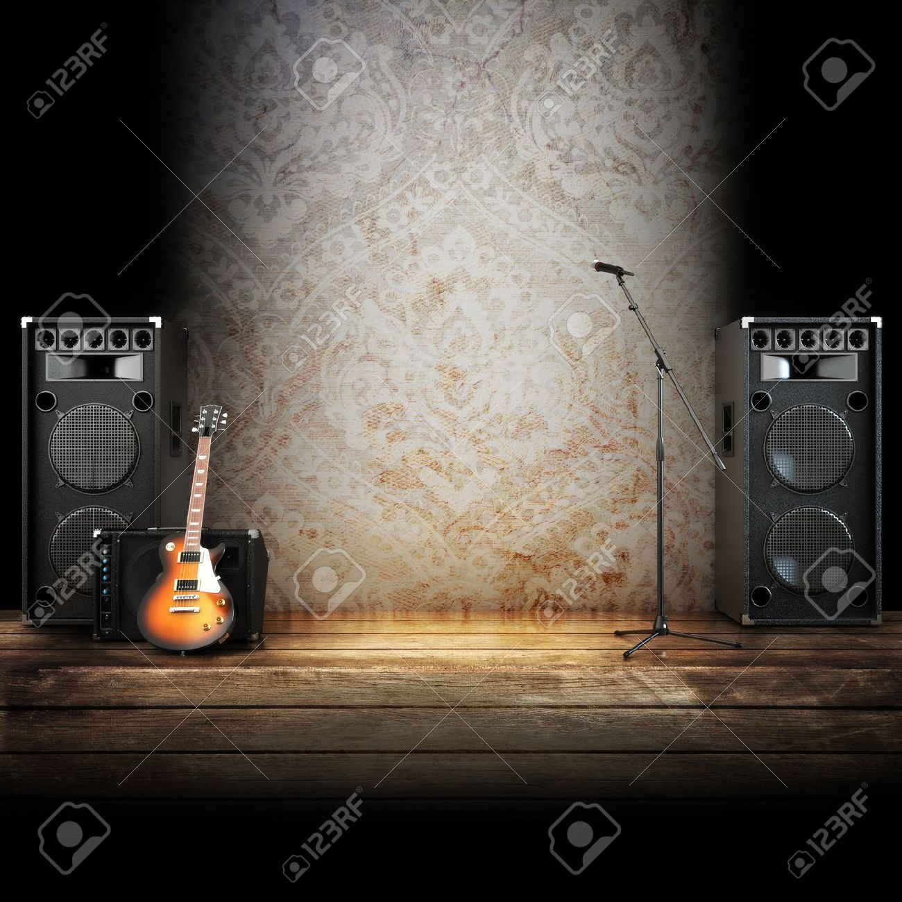 Stage lights background related keywords amp suggestions stage lights - Music Stage Or Singing Background Microphone Guitar And Speakers With Wood Flooring Stock Photo