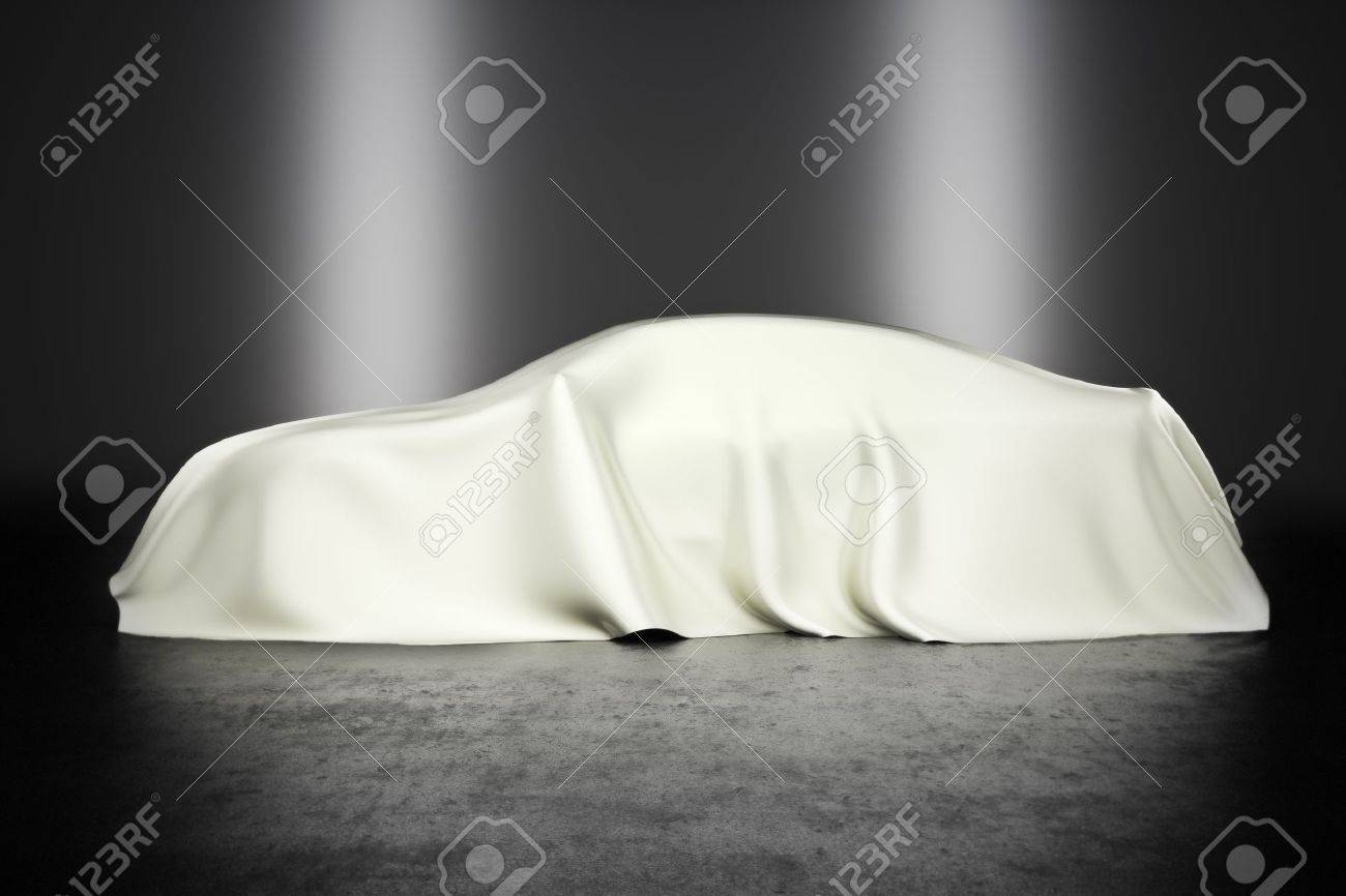 Covered car with studio lighting, innovation technology or hidden secret concept Stock Photo - 19756469