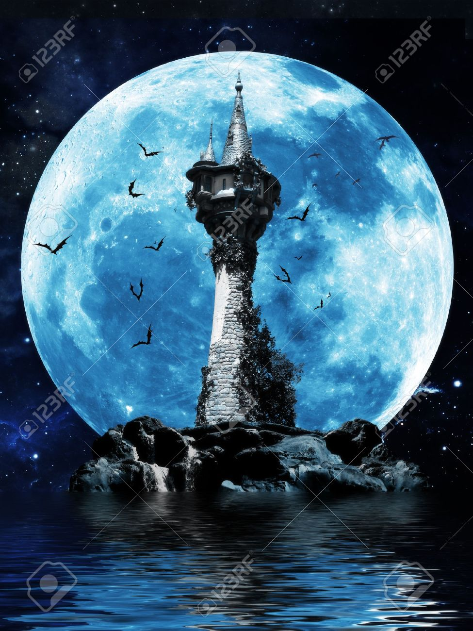 Witches tower, Halloween image of a dark mysterious tower on a rock island with bats and a moon background Stock Photo - 20628206