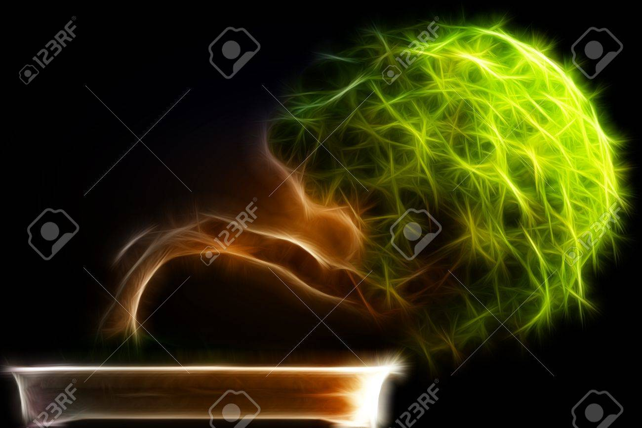 Abstract fractal Bonsai tree side view with a black background Stock Photo - 20940810