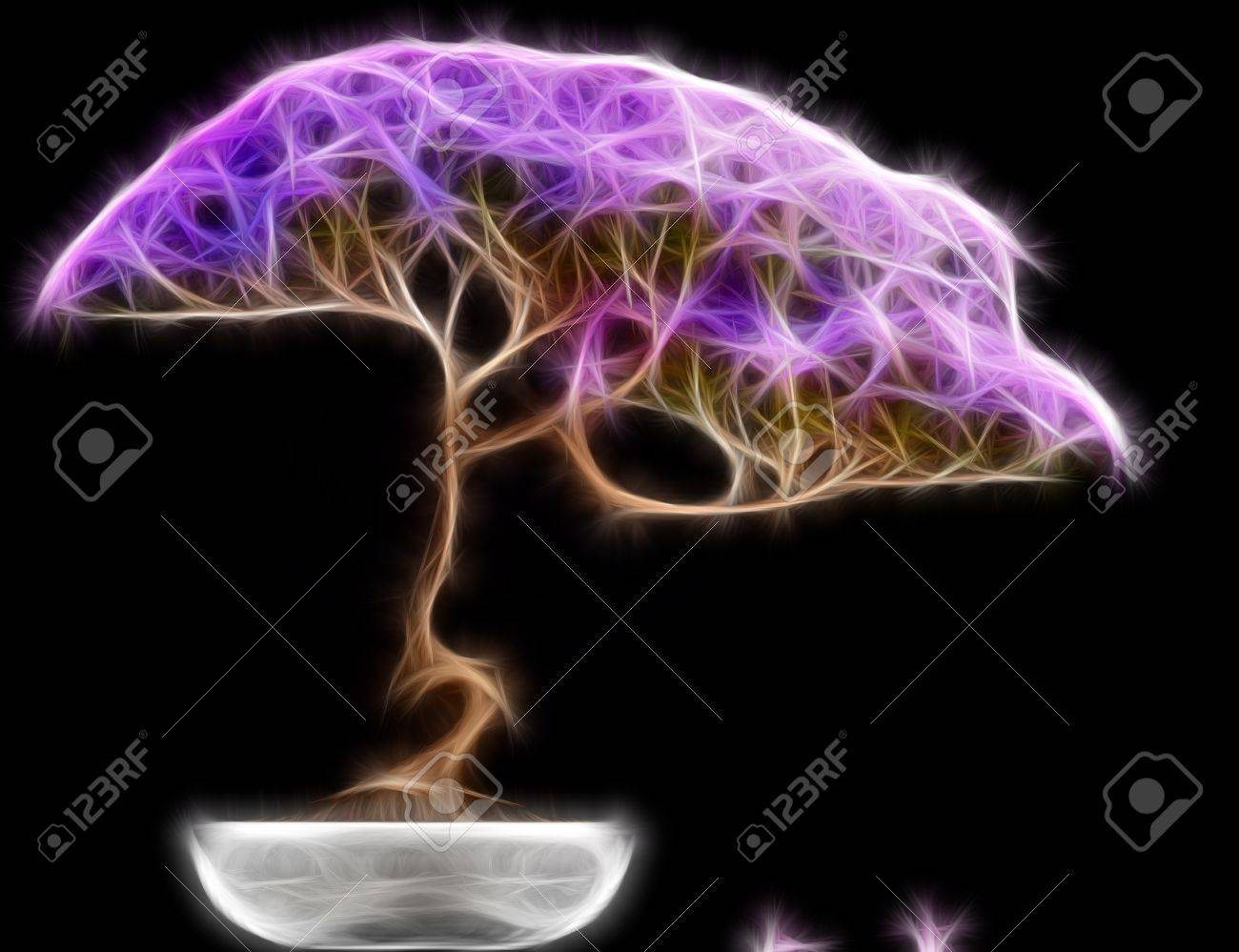Abstract fractal Bonsai tree side view with a black background Stock Photo - 20940812