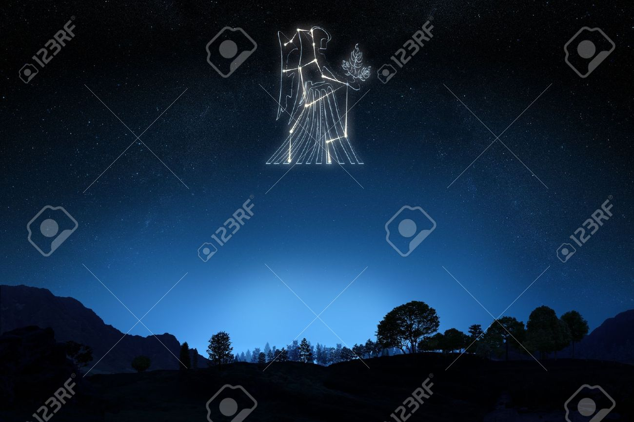 Zodiac Sign Virgo with a star and symbol outline on a gradient sky background Stock Photo - 21582027