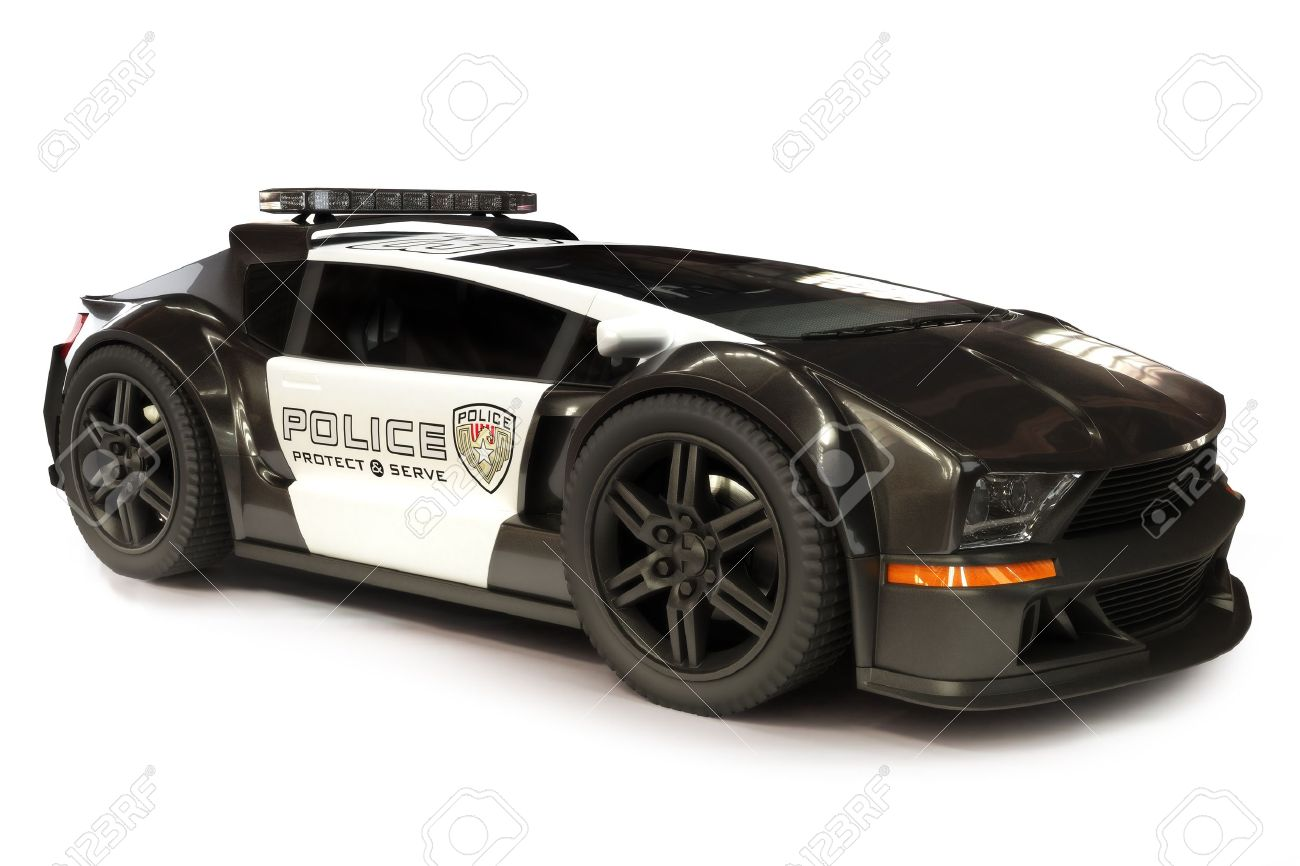 Futuristic Modern Police Car Cruiser On A White Background 3d