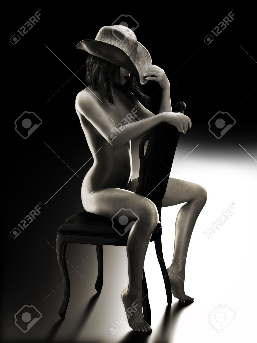 Sexy fit woman sitting on a chair wearing a cowboy hat with Studio lighting   Photo realistic 3d model scene in Black and White Stock Photo - 22111422