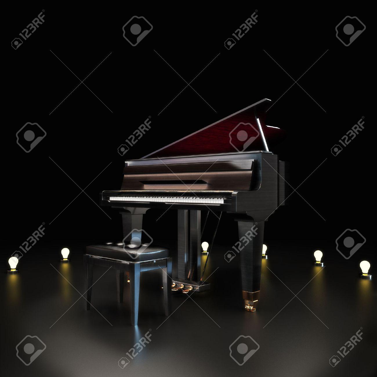 centre de la scène de piano élégant avec des accents d'éclairage