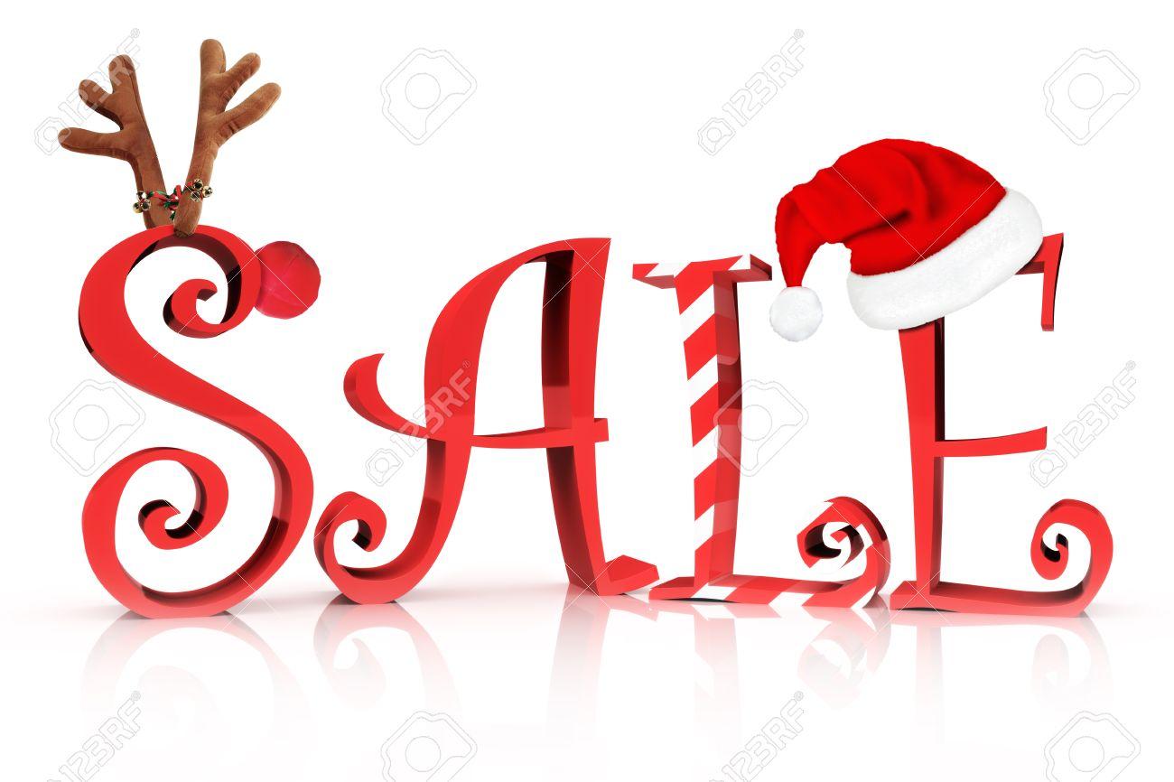Christmas Holiday Sale In Text Mit Rentier, Zuckerstange Und Santa ...