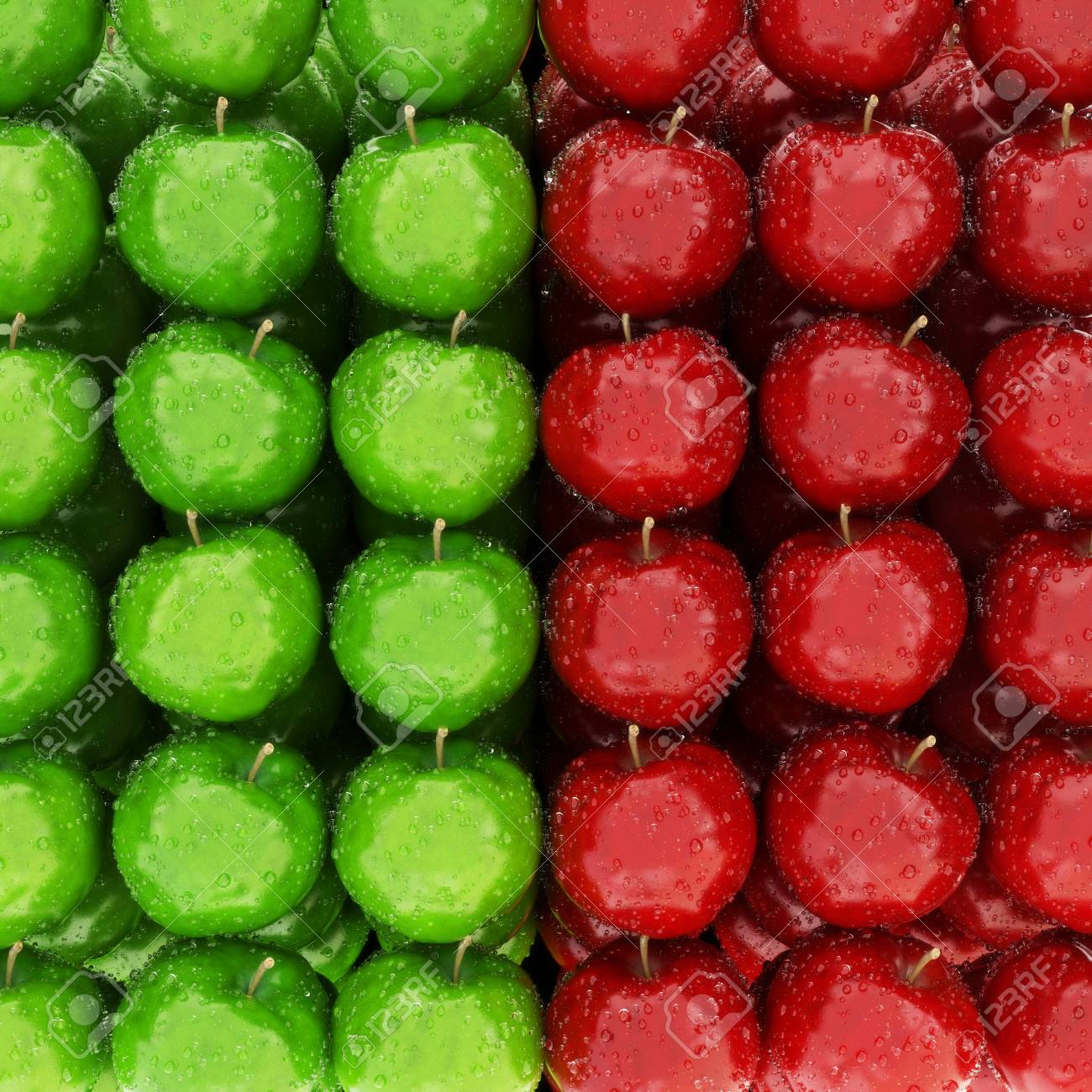 Row of red and green wet apples Stock Photo - 25284389