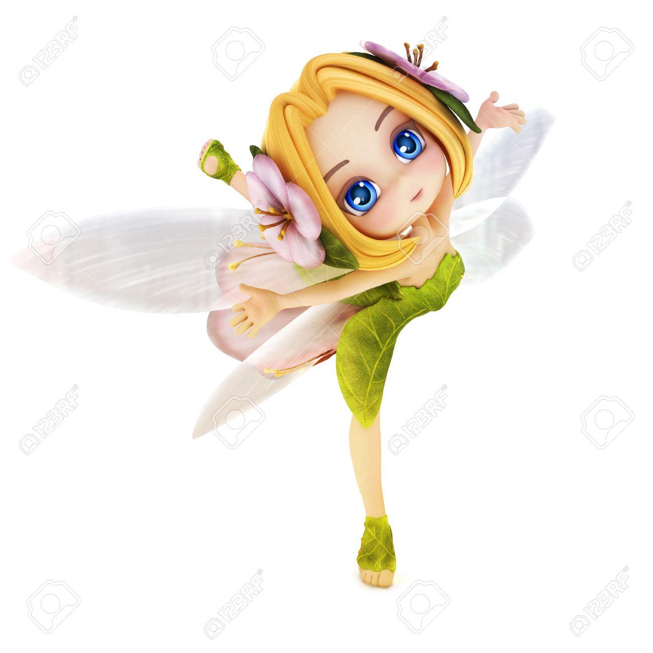 cute toon ballerina fairy on a white background stock photo