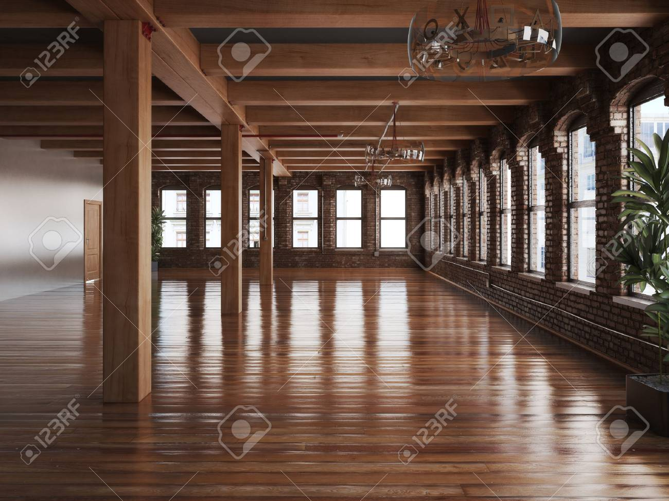 Empty Room Interior Of A Residence Or Office Space With Rustic Timbers And Wood Floors Stock