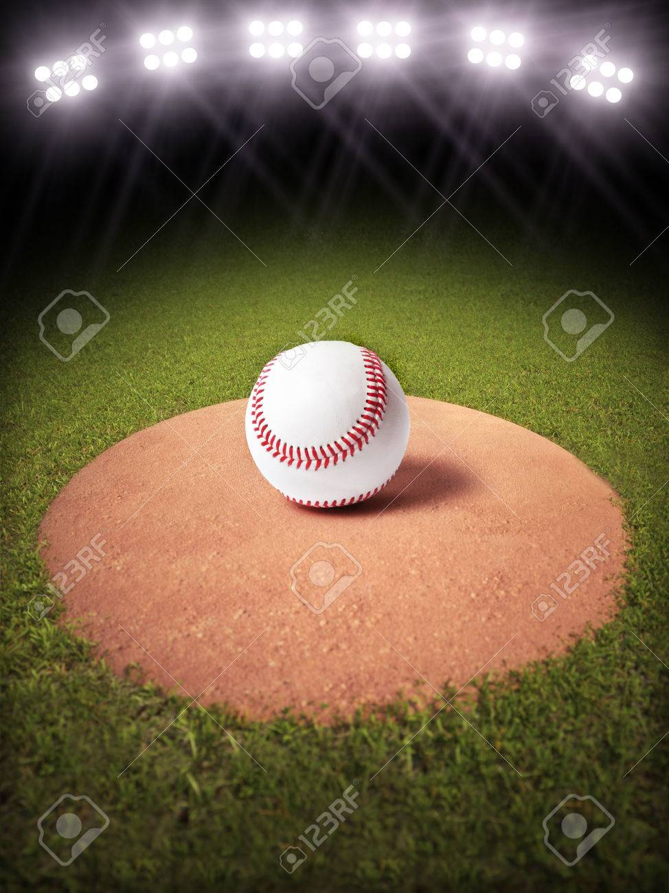 3d Rendering Of A Baseball On Pitchers Mound Lighted Field Room For Text