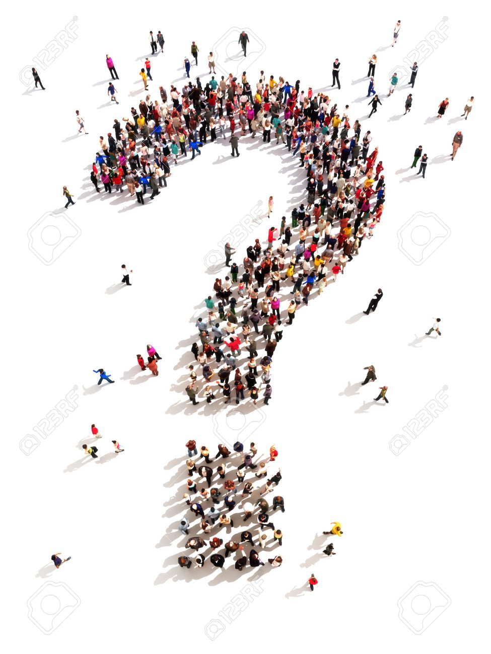 Large group of people with questions, thinking concept, or quest for answers on a white - 29301515