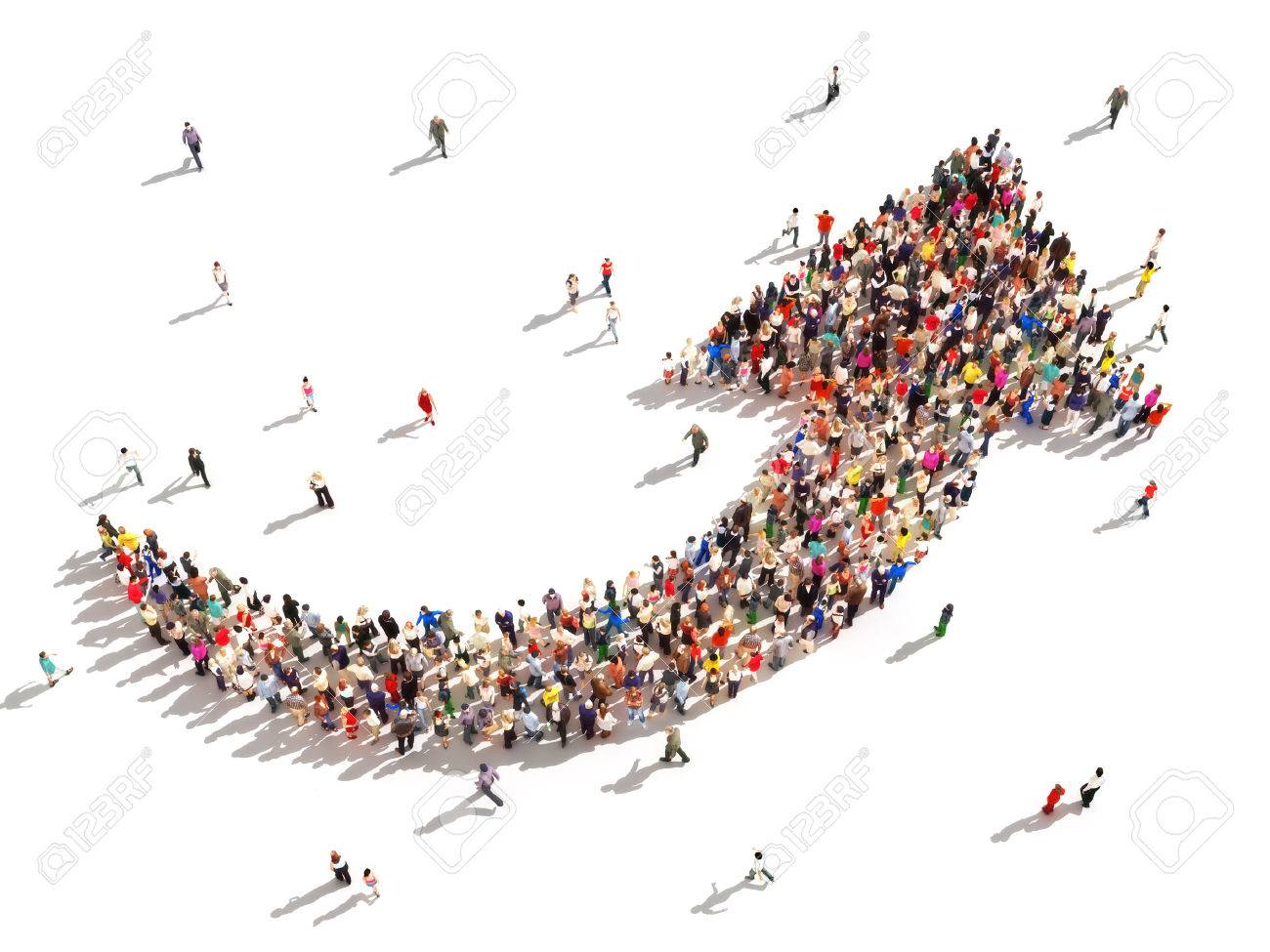 People with direction Large group of people in the shape of an arrow pointing up symbolizing direction , progress or growth - 29840814