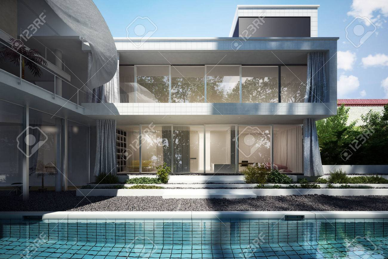 casa contemporanea con un design open space e le tende mosse dal