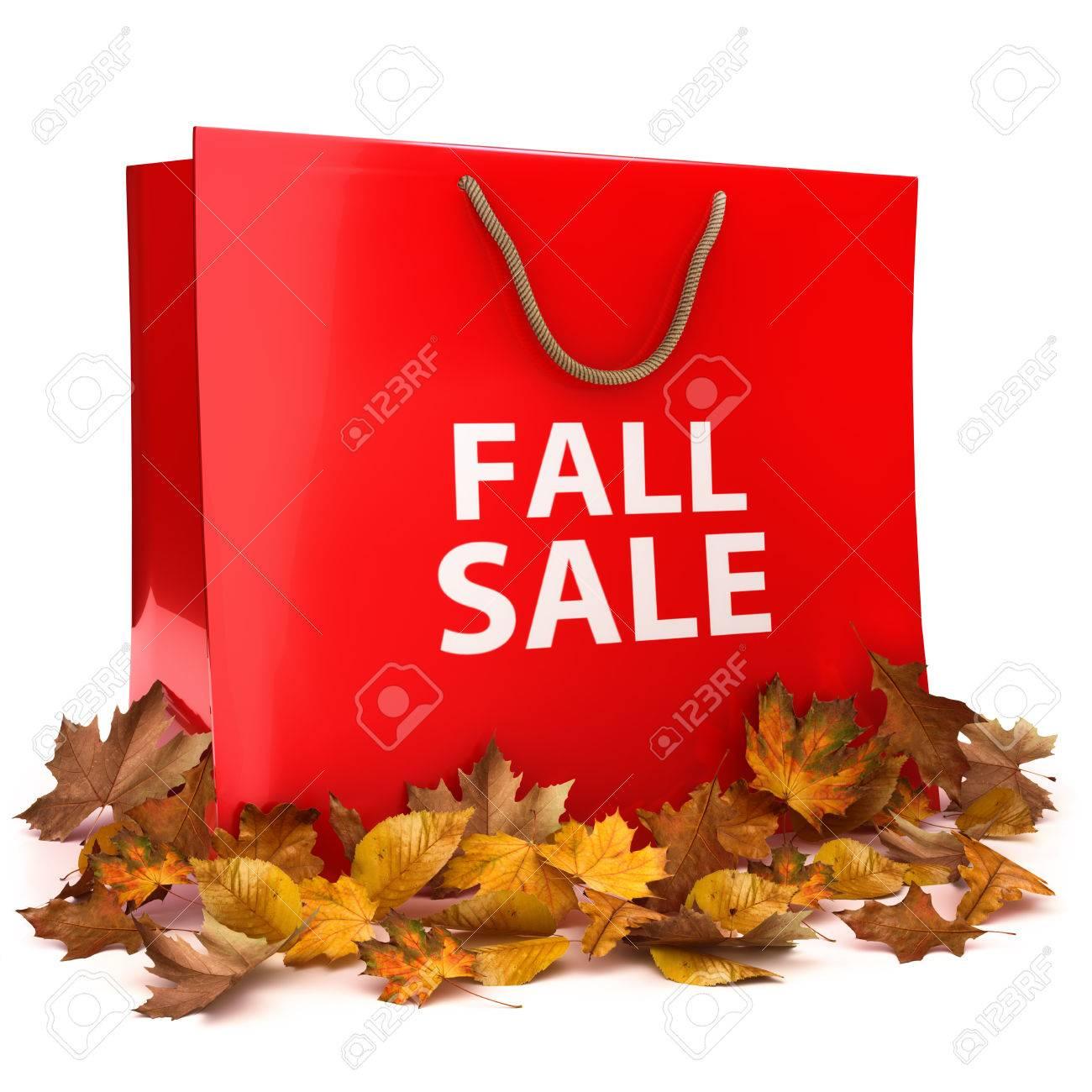 Herbst Verkauf .Seasonal Einkaufs Anzeige Mit Einer Einkaufstasche ...