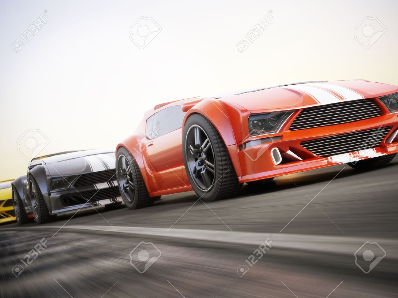 The Race , Exotic Sports Cars Racing With Motion Blur . Generic ...