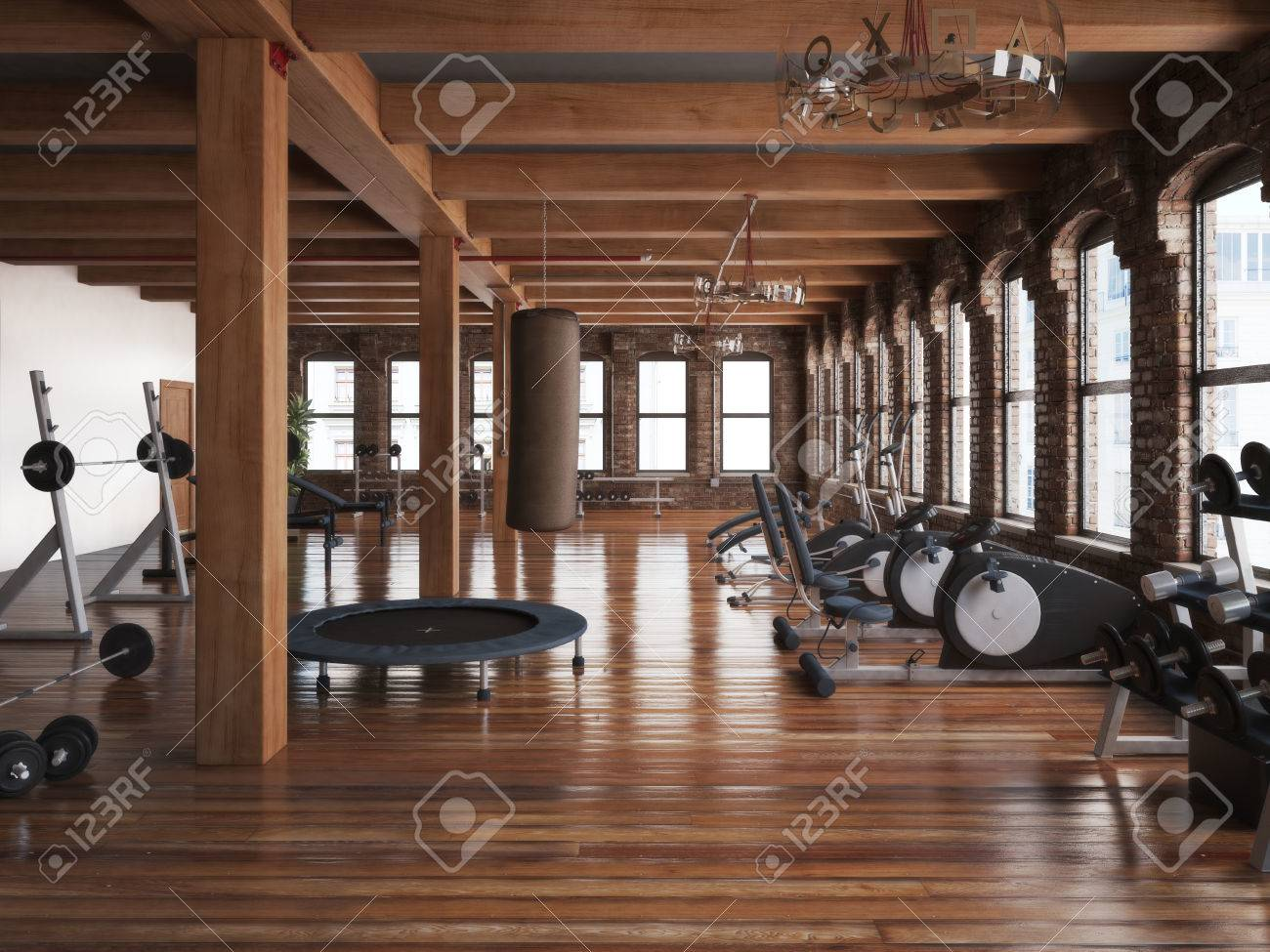 Illustration   Sports Club Cross Fit Gym Interior. Photo Realistic 3d  Illustration