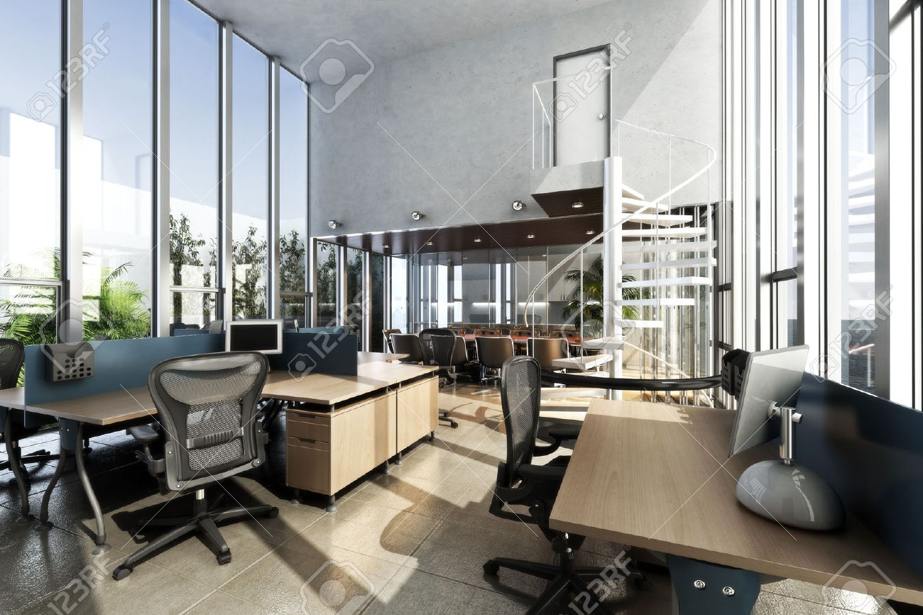 Ouvrir intérieur meublé bureau moderne avec de grandes fenêtres et