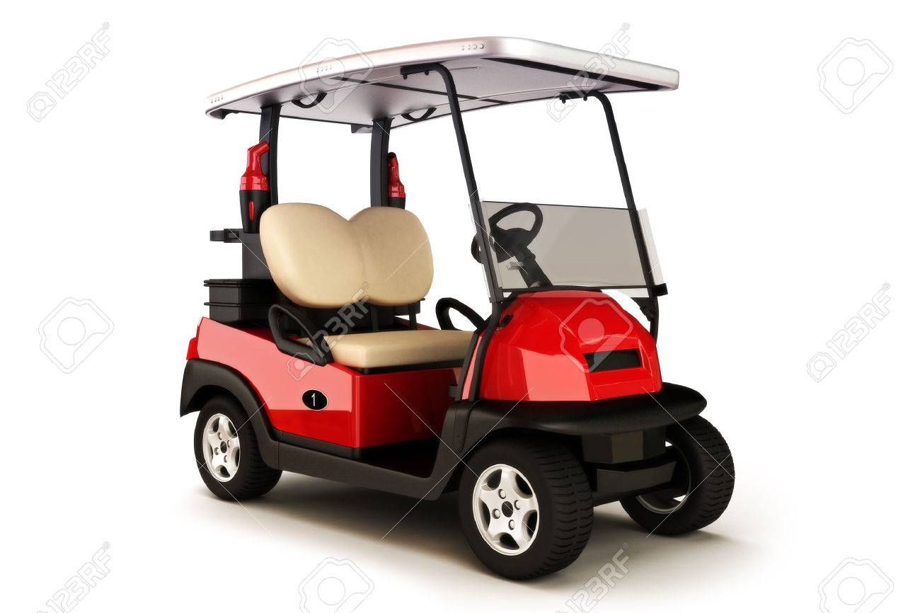 Red colored golf cart on a white isolated background Standard-Bild - 40862971