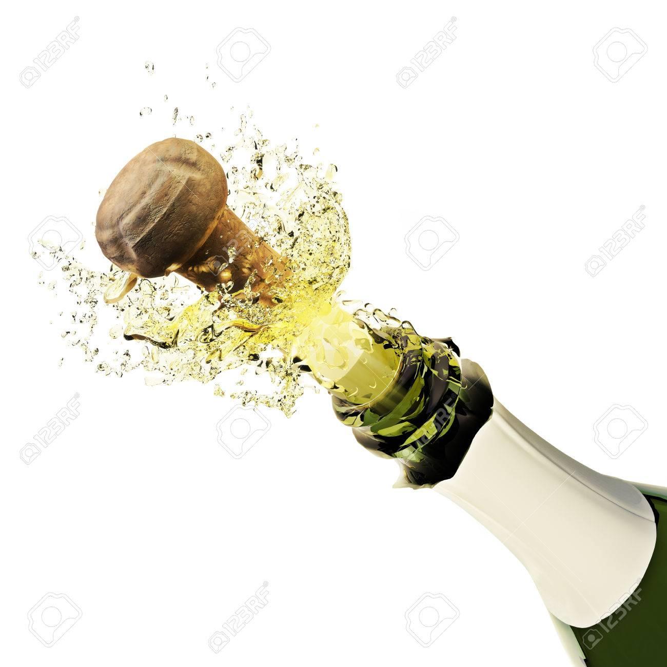Champagne bottle popping on a white background Standard-Bild - 40862972