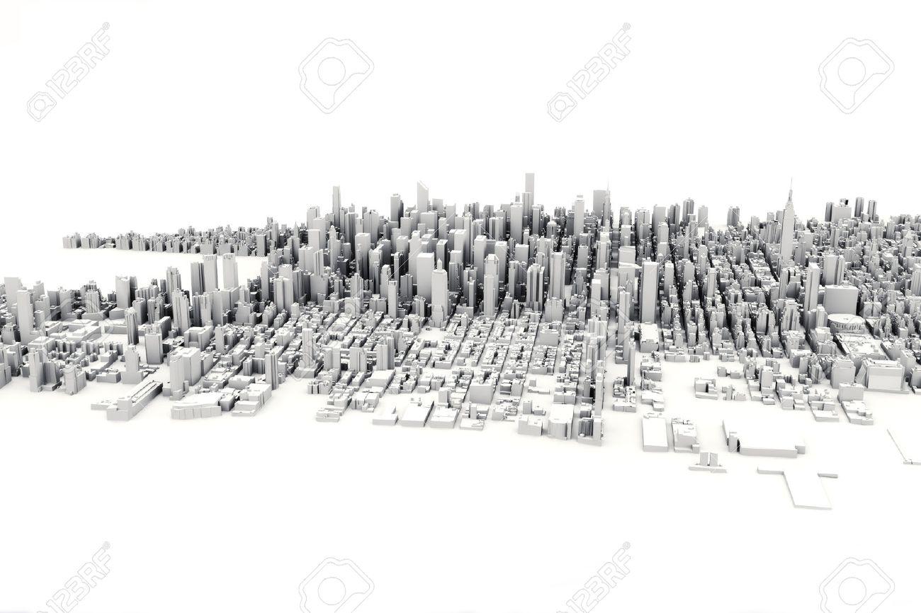 Architectural 3D model illustration of a large city on a white background. Standard-Bild - 42557201