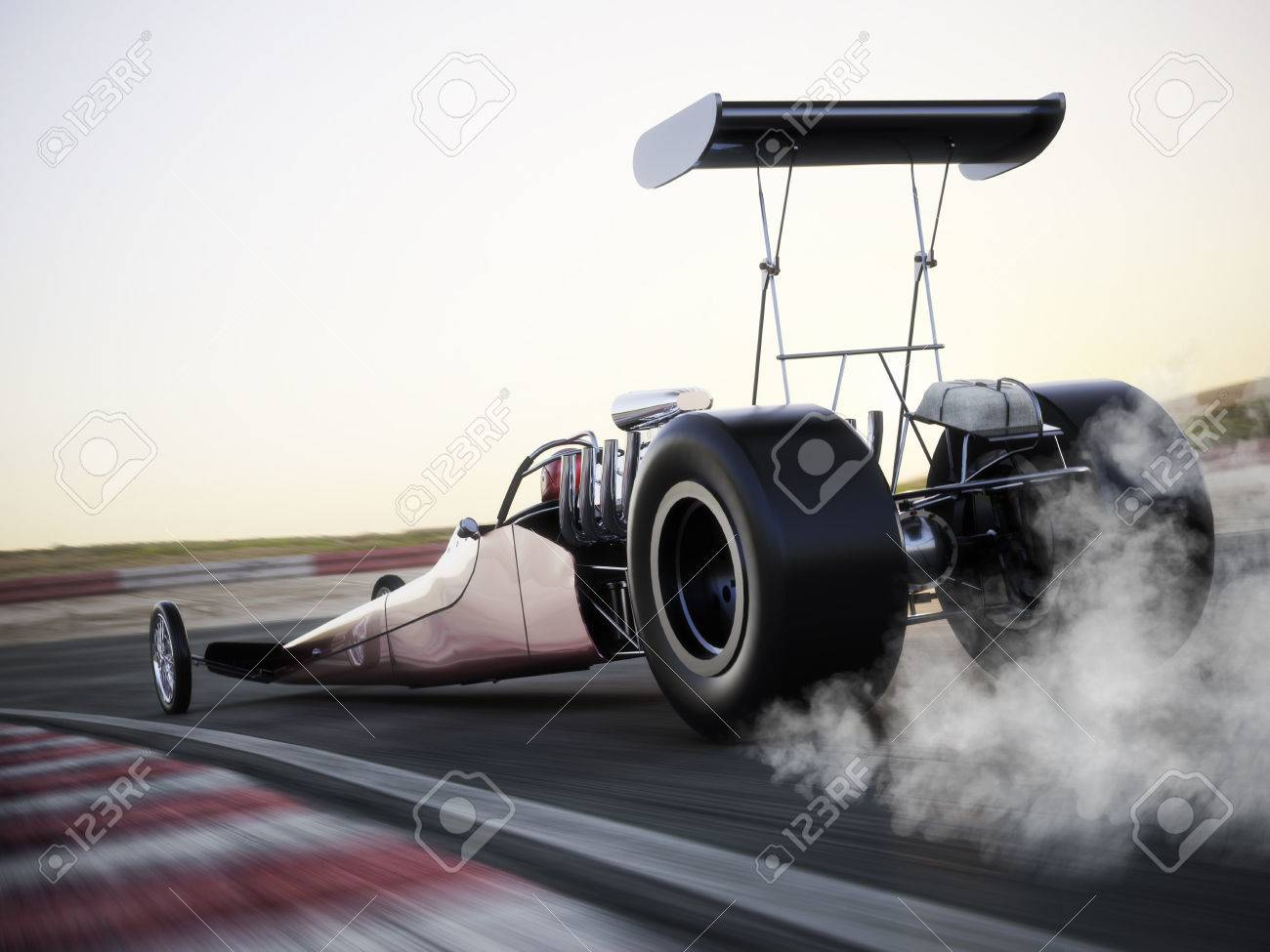 Dragster racing down the track with burnout. Photo realistic 3d model scene with room for text or copy space. Standard-Bild - 43044678