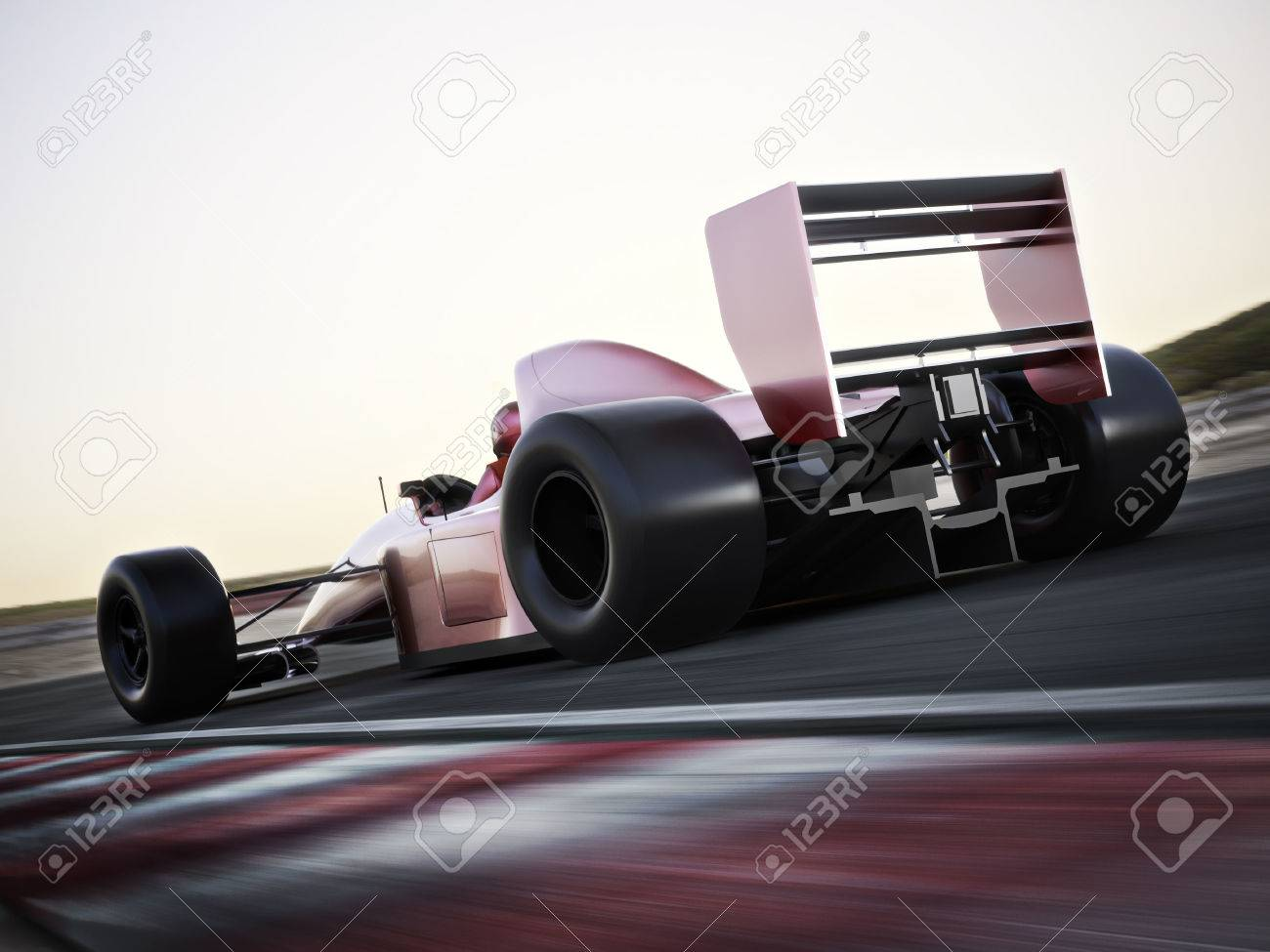 Race car back view speeding down a track with motion blur. Photo realistic 3d scene with room for text or copy space Standard-Bild - 43044679